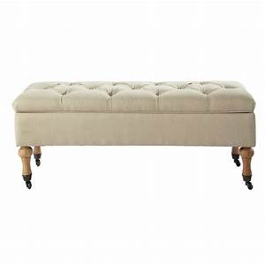 Banc Coffre Maison Du Monde : banc capitonn roulettes avec coffre en bois et coton ~ Premium-room.com Idées de Décoration