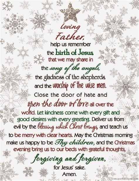 christmas prayer dear god help us remember the birth of jesus that we may share in the song of