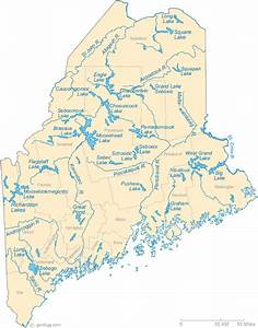 Map Of Maine Lakes  Streams And Rivers