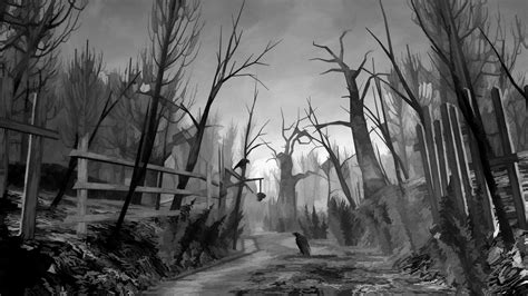 Spooky Wallpaper For by Creepy Monochrome Digital Trees Forest Birds