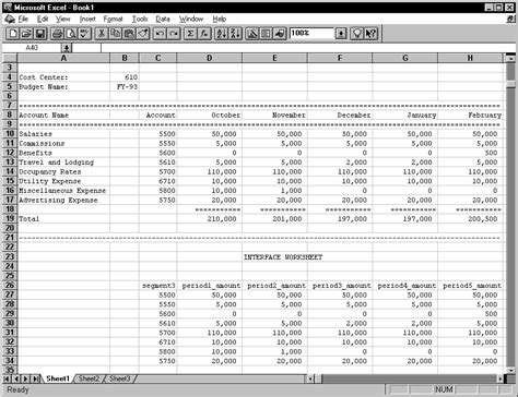 creating your budget spreadsheet oracle general ledger