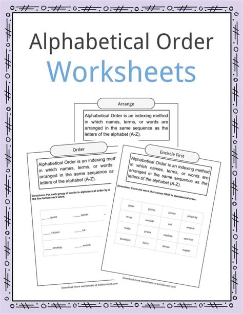Some people say it was the romans. Alphabetical Order Worksheets, Examples & Definition ...