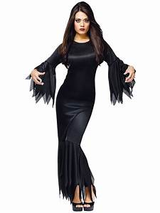 Ladies Morticia Vampire Fancy Dress Costume Witch ...