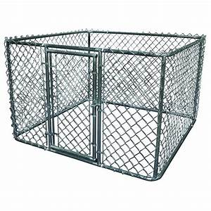 K 9 kwik dog kennel 6 ft x 6 ft x 4 ft galvanized steel for Dog run fence home depot