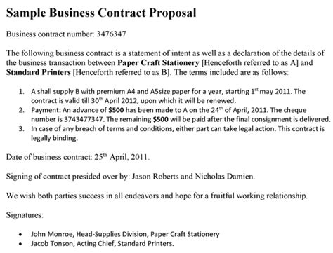 business contract proposal template