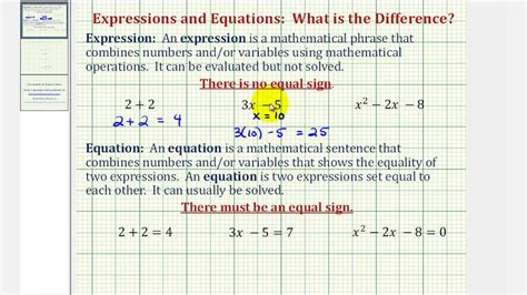 The Difference Between An Expression And An Equation Youtube