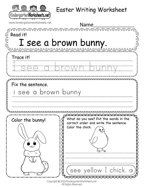 easter writing worksheet  kindergarten