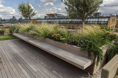 roof terrace with decking artificial level lawn and led