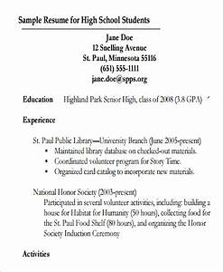 9 resumes for high school students sample templates for First resume for high school student