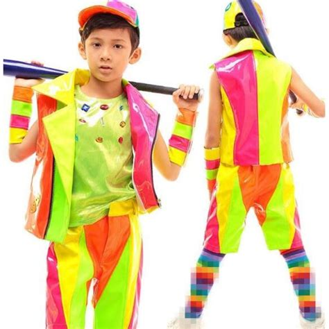 Candy rainbow leather colored patchwork fashion boys kids children teen student competition ...