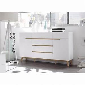 Buffet Scandinave Blanc Et Bois : buffet scandinave blanc et bois 169 cm cbc meubles ~ Teatrodelosmanantiales.com Idées de Décoration
