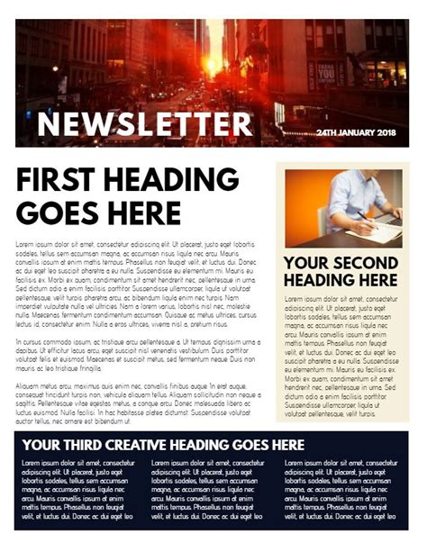 professional newsletter sample click  customize