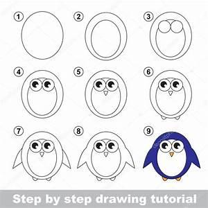 Tekening tutorial. Hoe teken je een pinguïn — Stockvector ...