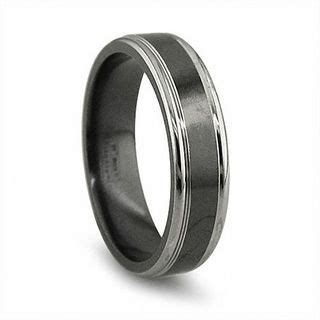 edward mirell mens mm grey edged wedding band  black
