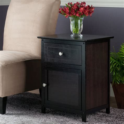 end table with drawers winsome trading espresso end table with 1 drawer and