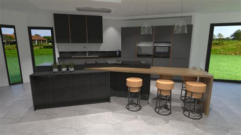 cuisine et gris cuisine gris anthracite bois et cuivre avec îlot design