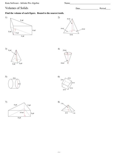 volumes of solids worksheet for 7th 9th grade lesson planet