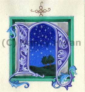 alphabet letter n medieval illuminated letter n painted With lighted letter n