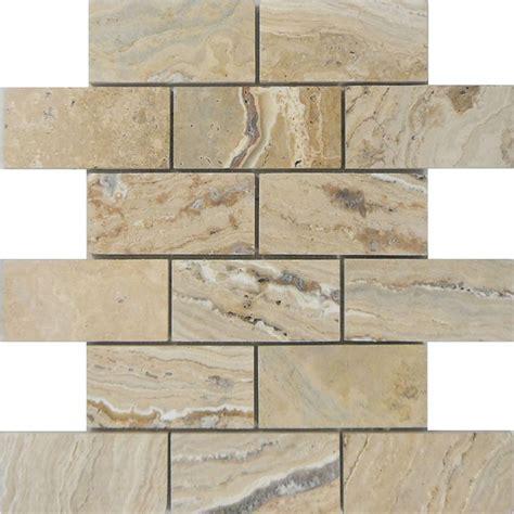 shop allen roth beige natural stone mosaic subway indoor
