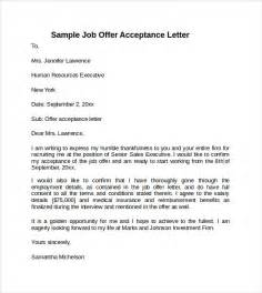 Sample Job Offer Acceptance Letter