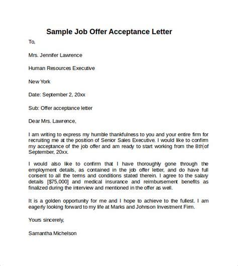 sample offer acceptance letter