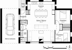 plan maison 80 m2 avec 2 chambres ooreka With plan de maison 2 pieces 2 plan maison moderne de plain pied 3 chambres ooreka