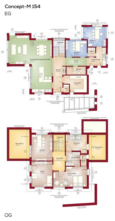 Stadtvilla Moderne Architektur Grundriss by Grundrisse Einfamilienhaus Modern Mit B 252 Ro Anbau Und Erker
