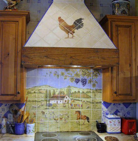 Hungarian European Farm Home backsplash painted tile mural