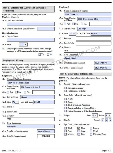 how to fill out form i 130 petition for alien relative