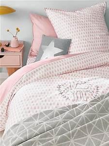 Housse De Couette Rose Poudré Et Gris : parures de lit originales d coration facile pour la chambre coucher ~ Teatrodelosmanantiales.com Idées de Décoration