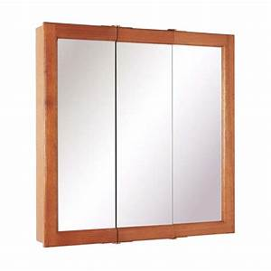 Oak medicine cabinet with mirror and lights roselawnlutheran for Pace industries inc bathroom vanities