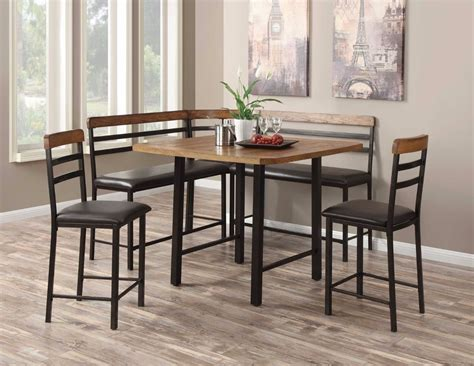 corner dining table with chairs metal wood counter height corner nook dining room table