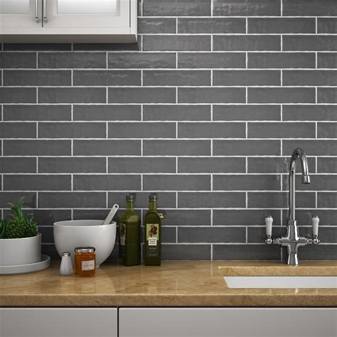 Mileto Brick Grey Gloss Ceramic Wall Tile  75 X 300mm