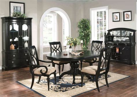 black finish traditional pc dining set woptions