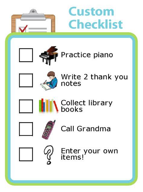 custom checklists  kids