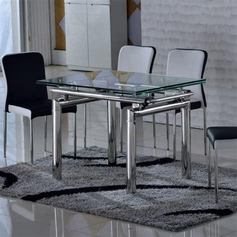 d 233 licieux table salle a manger extensible 7 table en verre tremp233 et inox extensible vinto