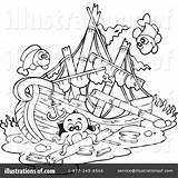 Ship Shipwreck Coloring Sunken Pages Clipart Drawing Paul Pirate Illustration Printable Template Visekart Royalty Rf Sketch Getdrawings Getcolorings Unique sketch template