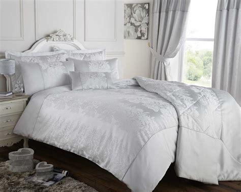Silver Grey Duvet Quilt Cover Jacquard Bedding Bed Set