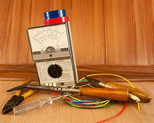 Master Electrician Collects Electrical Diagram Stock Photo