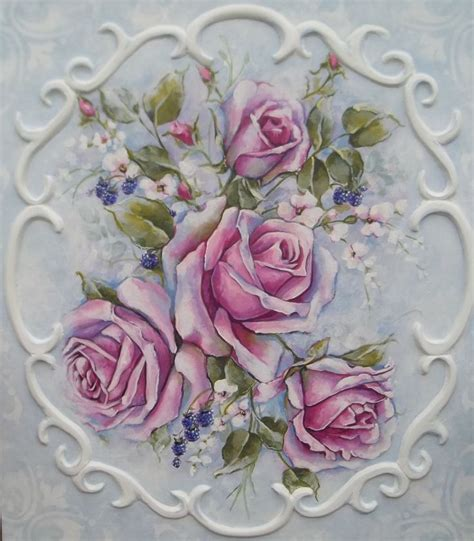 shabby chic paintings french decor rococo style romantic roses painting victorian shabby flower decoupage