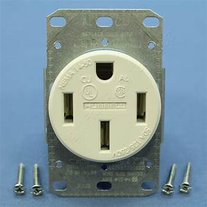 Hubbell White Flush Mnt Power Outlet Receptacle Nema 10