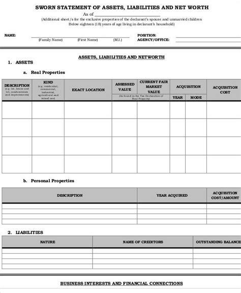 Asset And Liability Statement Template by 50 Sle Statement Forms Sle Templates