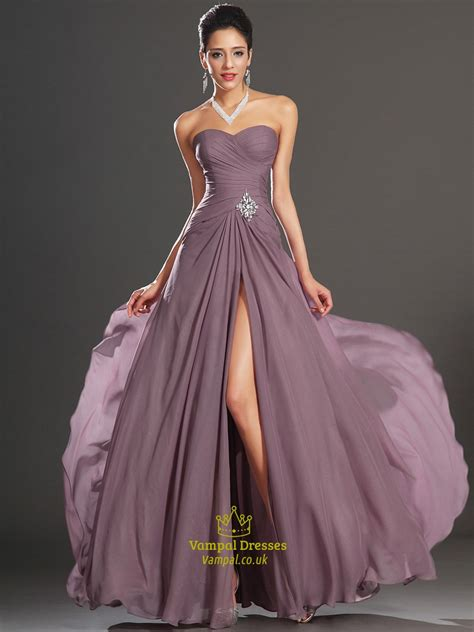 strapless sleeveless crystal ruched chiffon prom dress