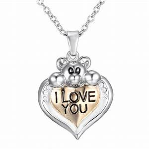 New Family Lover Gift Heart I Love You Mom Silver Chain ...
