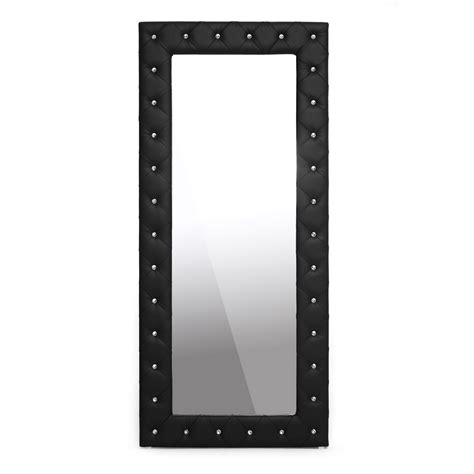 floor mirror black baxton studio stella crystal tufted black modern floor mirror