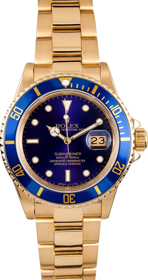 Rolex Submariner Blue Dial Gold Bezel 16808 - Ships Free