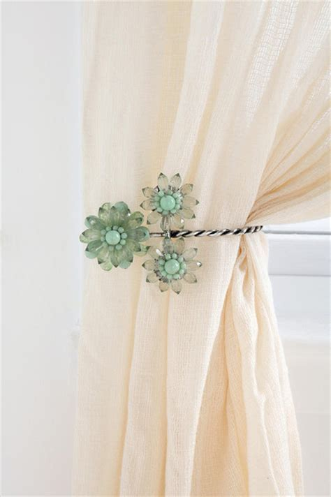 beaded flower tie back contemporary curtain