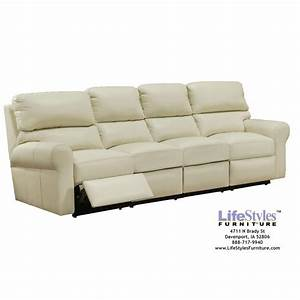 brookfield four seat reclining sofa by omnia at With sectional couch with 4 recliners