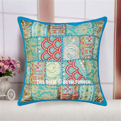 Throw Pillows by 16 Quot Turquoise Multi Patchwork Decorative Square Throw