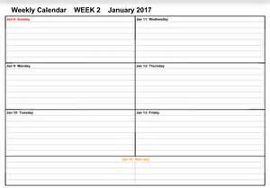 Week 2 January 2017 Weekly Calendar Printable